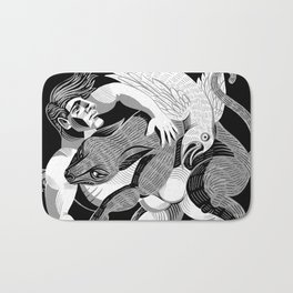 Wrestle (Black & White) Bath Mat