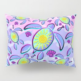 Sea Turtle and Sun Abstract Glitch Ultraviolet Symbol Pillow Sham
