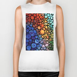 Abstract 1 - Beautiful Colorful Mosaic Art by Sharon Cummings Biker Tank