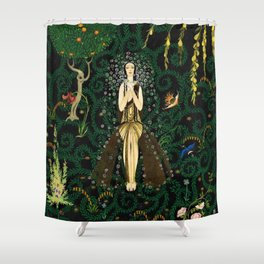 1921 Classical Masterpiece 'Flowers and Flames' by Kay Nielsen Shower Curtain