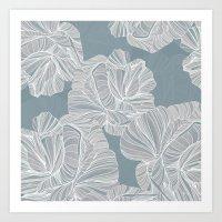 gray pattern Art Prints featuring Gray Roses Pattern - Blue  by Sweet Karalina