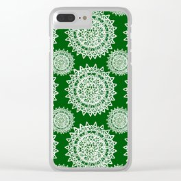 Emerald Green and Silver Patterned Mandalas Clear iPhone Case