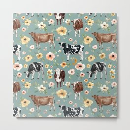Cows and Flowers on Country Blue, Yellow Flowers, Cow Floral, Pink Flowers Metal Print