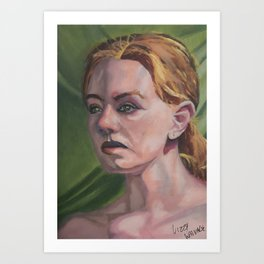 Oil paint on canvas painting of the portrait of a nude model Art Print