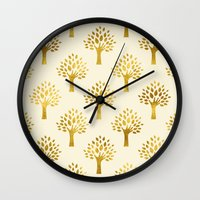 gold foil Wall Clocks featuring Cream Gold Foil 02 by Aloke Design