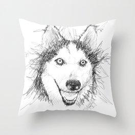 Scribble Art of Husky Dog Throw Pillow
