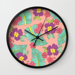 tropical hawaiian flowers Wall Clock