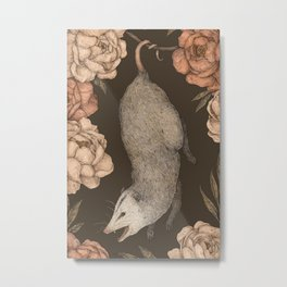 The Opossum and Peonies Metal Print