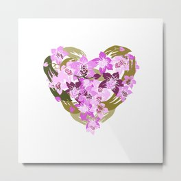 Orchid Heart Metal Print