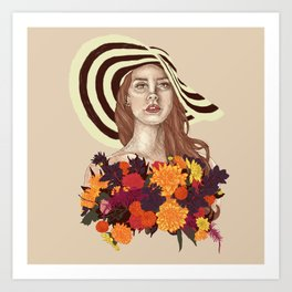 A flower between flowers // Del Rey with a bouquet Art Print