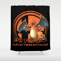 super smash bros Shower Curtains featuring Charizard - Super Smash Bros. by Donkey Inferno