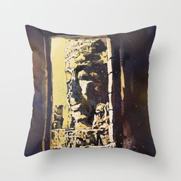 Temple of the Bayon at Angkor Wat ruins- Siem Reap, Cambodia Throw Pillow
