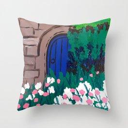 Blue Wooden Door  Throw Pillow