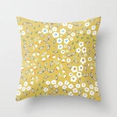 Ditsy Mustard Throw Pillow
