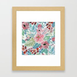 Pretty watercolor hand paint floral artwork. Framed Art Print