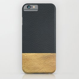 Color Blocked Gold & Leather iPhone Case