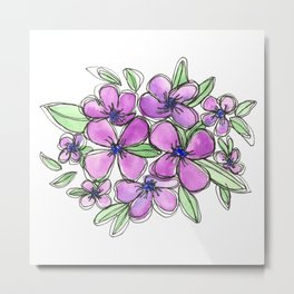 Lavender Purple Flowers Floral Watercolor Metal Print