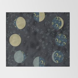 Lunar Cycle on Starlight Throw Blanket