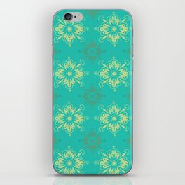 Ornamental Geometric in Turquoise and Gold Metallic Look iPhone Skin