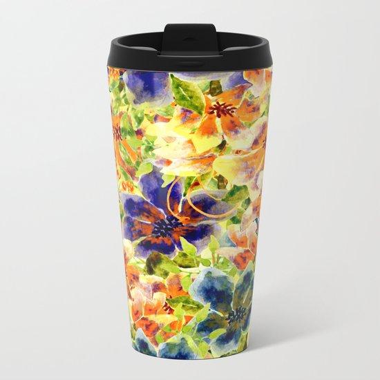 vivid floral Metal Travel Mug