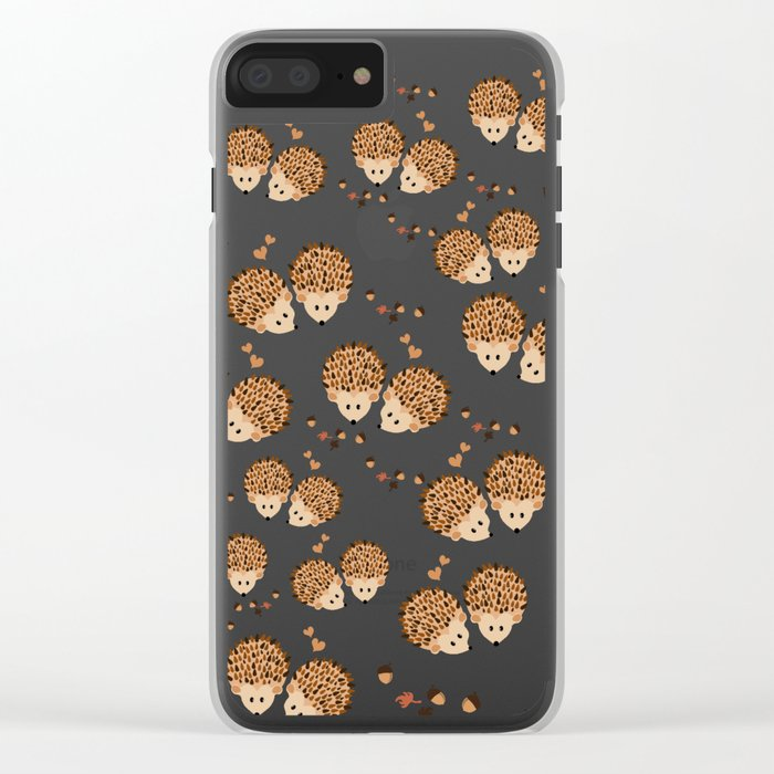 Hedgehogs in autumn Clear iPhone Case