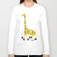 number Long Sleeve T-shirts featuring Paint by number giraffe by Picomodi
