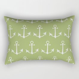 Nautical Anchors (Boat Anchors) - Green Gray Rectangular Pillow