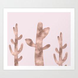 Cactus plains - rose gold Art Print