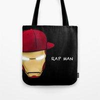 rap Tote Bags featuring Rap man by Tony Vazquez