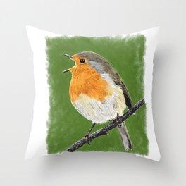 Robin 02 Throw Pillow