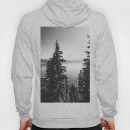 Mountain Lake Forest Black and White Nature Photography Hoody