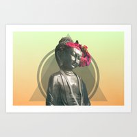 buddah Art Prints featuring Floral Buddah by EK9GraphicDesign