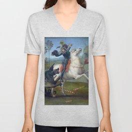 """Raffaello Sanzio da Urbino """"Saint George and the Dragon"""", 1503 - 1505 Unisex V-Neck"""