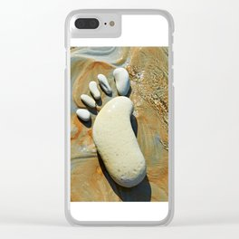 Human footprint in stone Clear iPhone Case