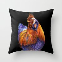 rooster Throw Pillows featuring Rooster by Tim Jeffs Art