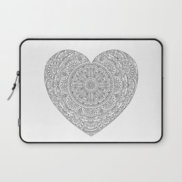 Mandala Heart with Flowers and Leaves for Adult Coloring Laptop Sleeve