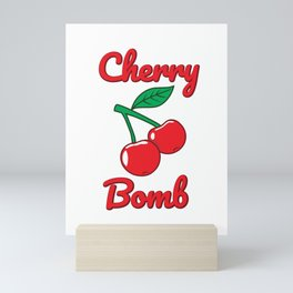 Cherry Bomb Retro Vintage Old Style design Mini Art Print