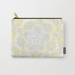 Woven Fantasy - Yellow, Grey & White Mandala Carry-All Pouch