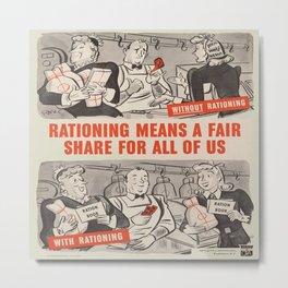 Vintage poster - Rationing Metal Print