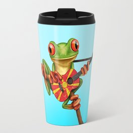 Tree Frog Playing Acoustic Guitar with Flag of Macedonia Travel Mug