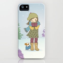 Girl and Dog in Snow Illustration iPhone Case