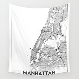 Minimal City Maps - Map Of Manhattan, New York, United States Wall Tapestry