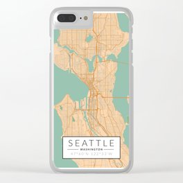 Seattle Map - Color Clear iPhone Case