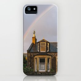 Rainbow over Scottish House iPhone Case