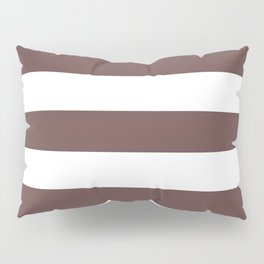 Rose ebony - solid color - white stripes pattern Pillow Sham
