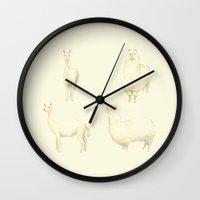 alpaca Wall Clocks featuring Alpaca  by Miyuki Sakurai