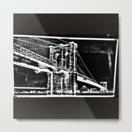 Sketched Brooklyn Bridge White on Black Metal Print