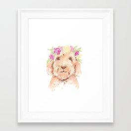 golden doodle watercolor Framed Art Print