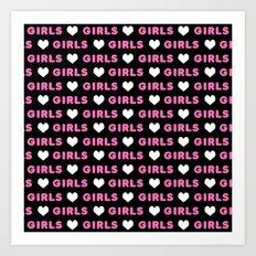Girl Love pattern typography feminism Art Print