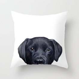 Labrador with white background Dog illustration original painting print Throw Pillow